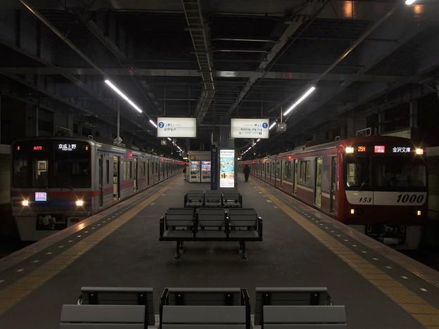 京成線青砥駅1・2番線 京急1153Fアクセス特急金沢文庫行き 京成3718F通勤特急上野行き