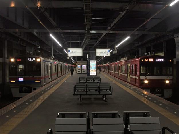 京成線青砥駅1・2番線 京急1731Fアクセス特急金沢文庫行き 京成3868F通勤特急上野行き
