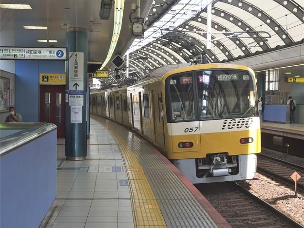 京成本線京成船橋駅2番線 京急1057F快速成田空港行き前方確認