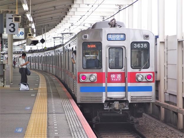 京成押上線青砥駅3番線 京成3638F快速成田空港行き前方確認