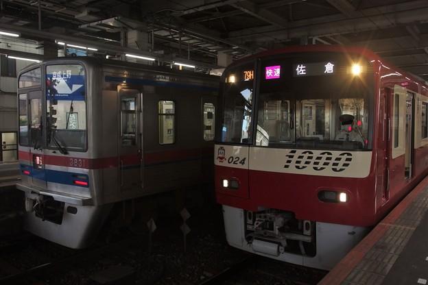 京成本線高砂駅3番線 京急1017F快速佐倉行き 京成3838F普通京成上野行き