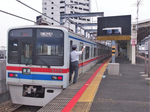 北総線新鎌ヶ谷駅4番線 京成3408F普通印旛日本医大行き側面よし