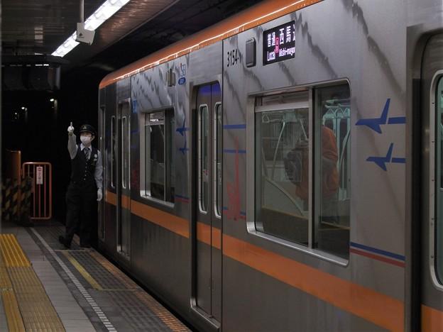 都営浅草線浅草橋駅1番線京成3154F 普通西馬込行き側面よし
