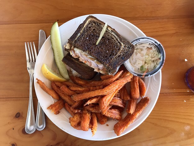 Grouper Ruben Sandwitch with Sweet Potato Fries 6-2-19
