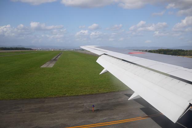 着陸する旭川空港って畑とギリギリだからビビった@北海道一人旅