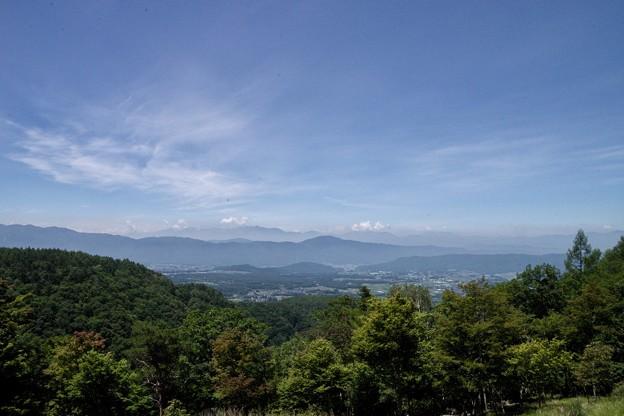 横谷観音駐車場展望台から観る茅野市街と中央アルプス