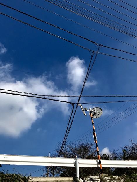 ミラーと電線