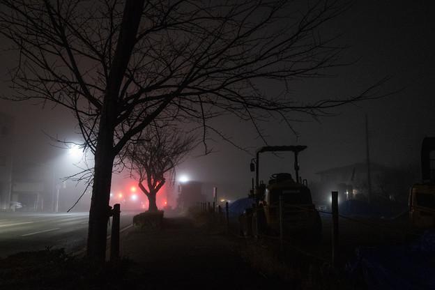 重機と街路樹と信号