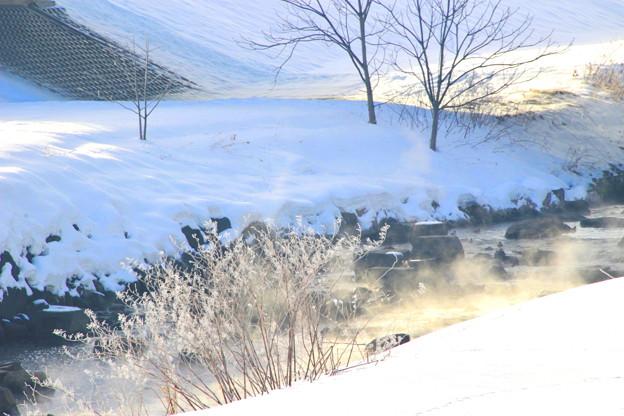 立ち昇る川霧に降り注ぐ朝陽