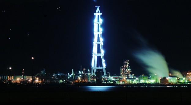 星空と工場夜景