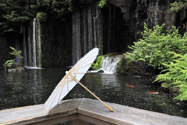 滝の流れる中庭