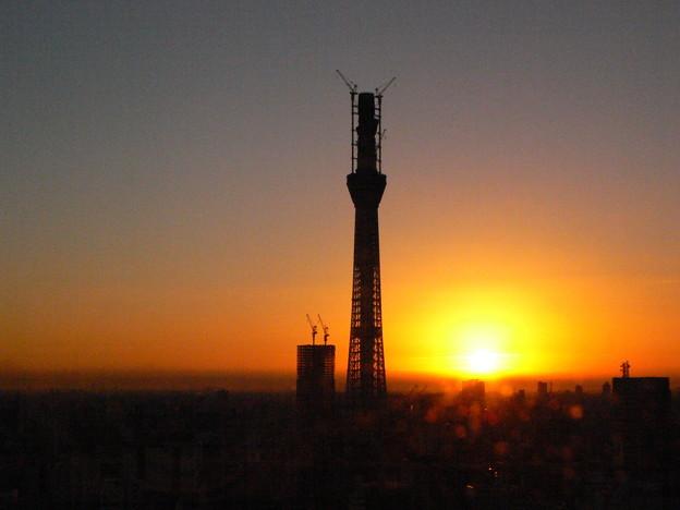 晩秋の朝陽