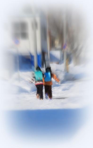 仲良く雪道駈ける
