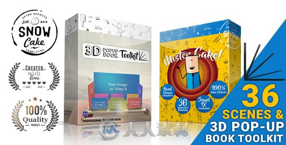 有趣震撼的创意3D书籍打开弹出动画场景工具包AE模板Videohive 3D Pop-Up Book Toolkit featuring Mister Cake | Toolkit & Story Construction Set