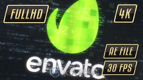 炫酷科技感动态代码阵列背景标题展示幻灯片AE模板Videohive Digital Intro Title