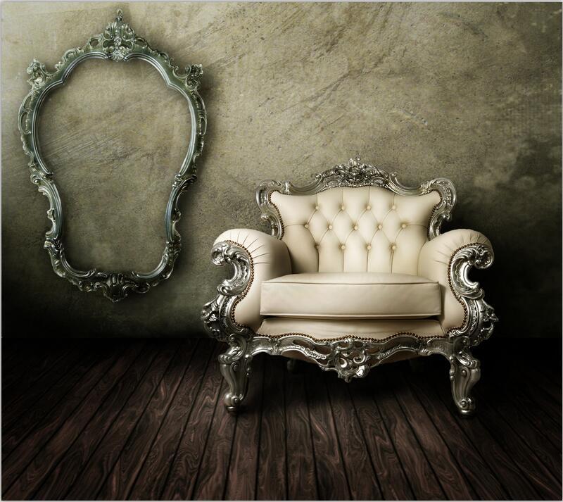 欧式华丽沙发与相框高清图片素材