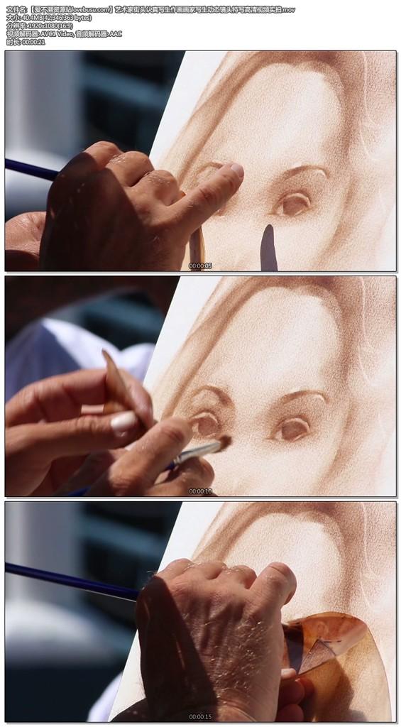 艺术家街头认真写生作画画家写生动态镜头特写高清视频实拍