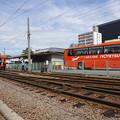 Photos: s6675_機関車14号と伊予鉄バスが転回中_道後温泉
