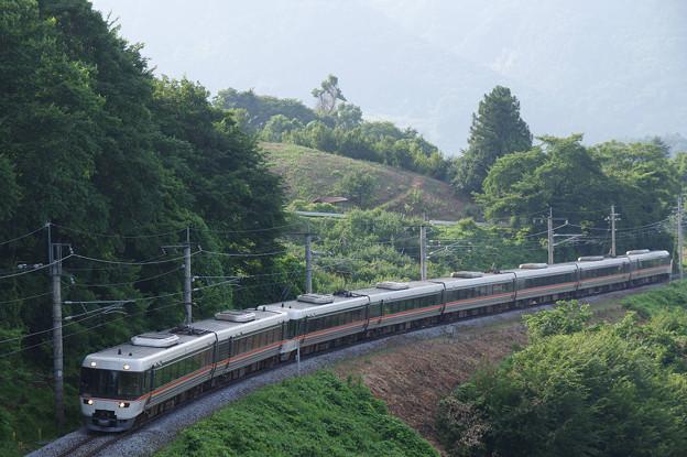 s1518_篠ノ井線1020M特急しなの20号_383系電車A201編成他_姨捨公園