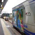 Photos: s7190_泊駅2番ホームで同一線路上に2列車が入線_あいの風列車接近