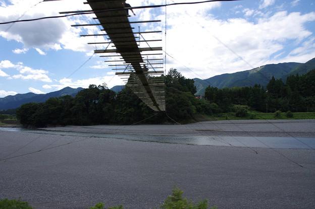 s9914_大井川鐡道車窓_塩郷の吊り橋_塩郷~下泉間