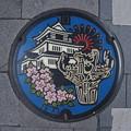 Photos: s8200_長岡市マンホール_城・花火・桜花・_火焔土器柄_合流_カラー_t