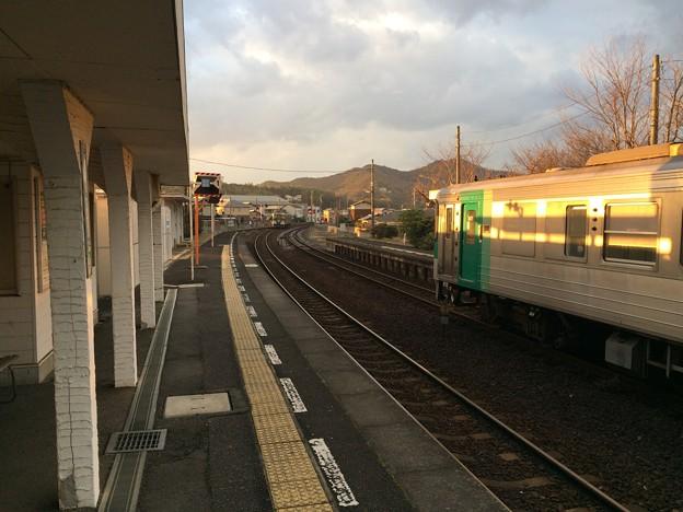 造田駅と夕日1