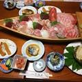 下田市田牛の民宿での夕食