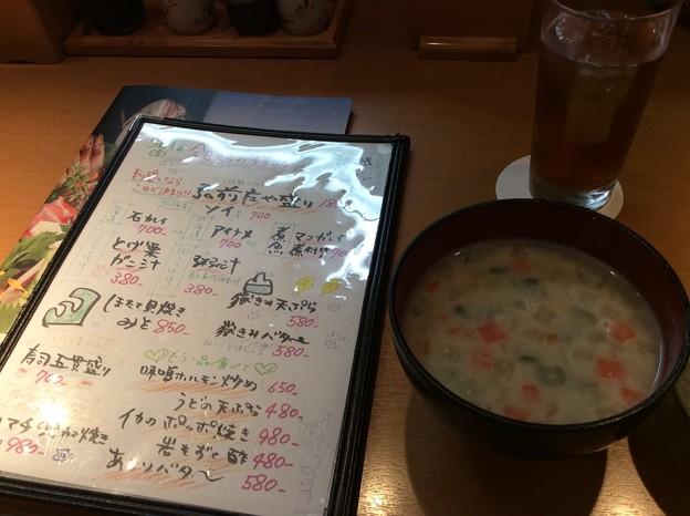 日本海庄やで粥(け)の汁を頼む