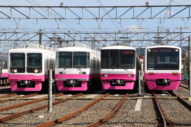 Photos: 新京成8000形 8518F・8800形 8814F・8900形 8918F・N800形 N828F