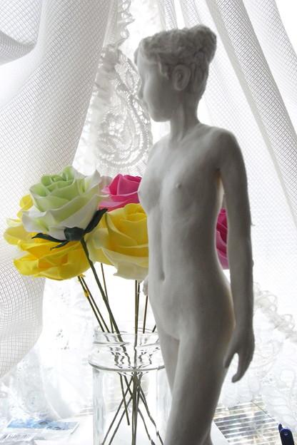紙粘土人形 裸婦16 横逆光