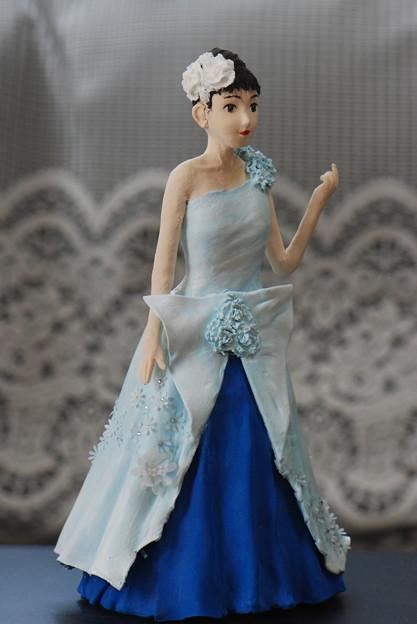 ブルードレス人形斜めから