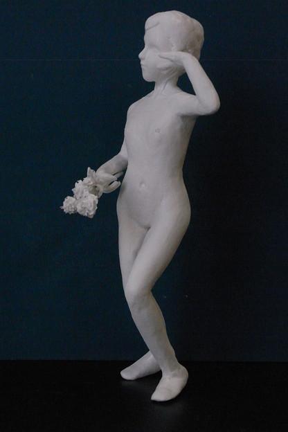 紙粘土人形裸婦像53 日本舞踊 横