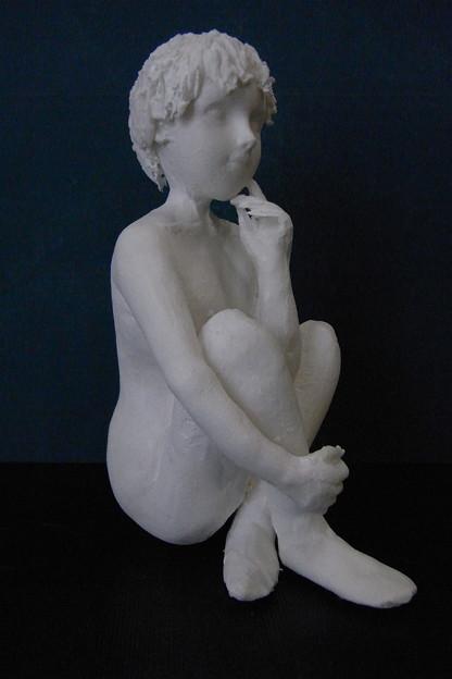 紙粘土人形裸婦像54 ほおづえ