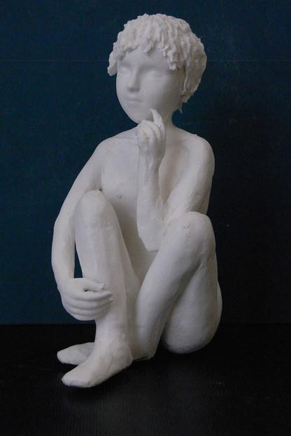 紙粘土人形裸婦像54 ほおづえ右