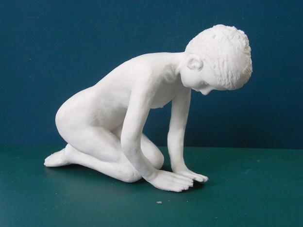 Photos: 紙粘土人形裸婦像55 正座字義斜め前