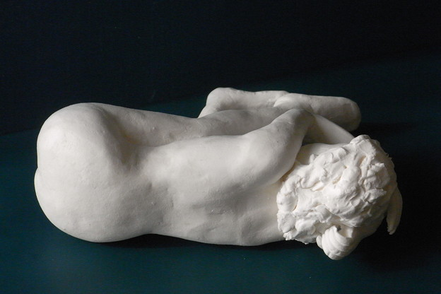 紙粘土人形裸婦像60絵画横臥背