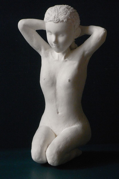 Photos: 紙粘土人形裸婦像61 正座髪直し前