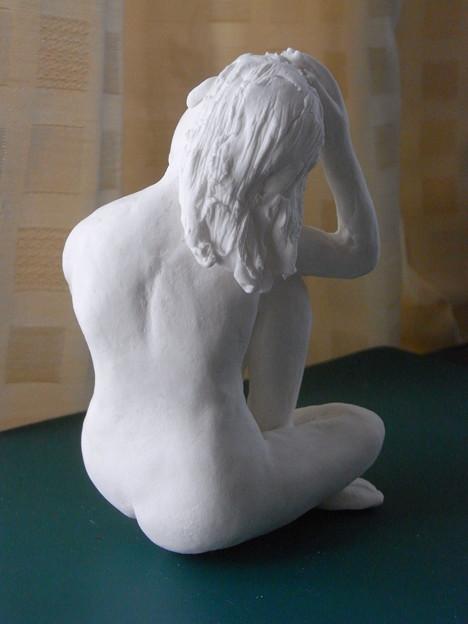 紙粘土人形裸婦像63 ブルーヌードポーズ後