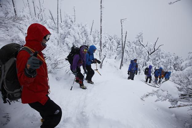 日本の山 雪山講習会S1 蓼科山 下山途中にて