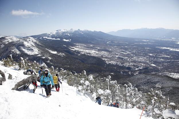 日本の山 雪山講習会S1 蓼科山 南八ツをバックに