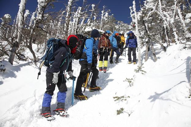 日本の山 雪山講習会S1 蓼科山 下りの歩き方講習