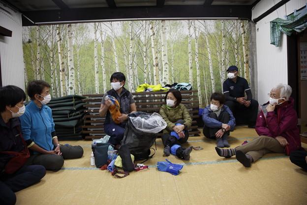 日本の山 美ヶ原ロングトレイル 雨のためミニ講習会に
