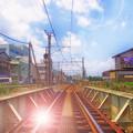写真: 夏の背景 線路ver