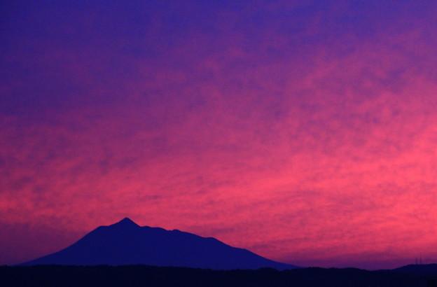 岩木山と夕焼け01