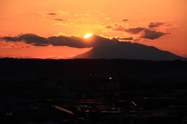 岩木山に沈む夕日2