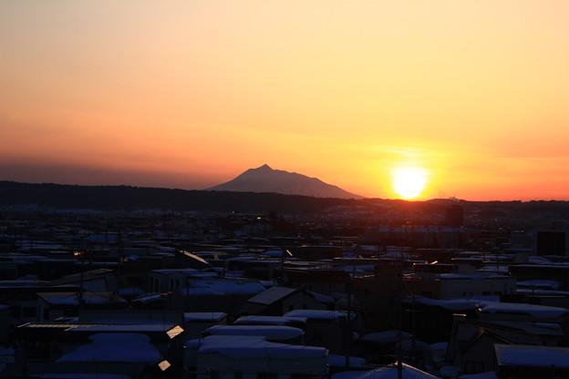 夕景色・岩木山