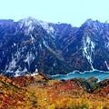 大観峰よりの紅葉の黒部湖1