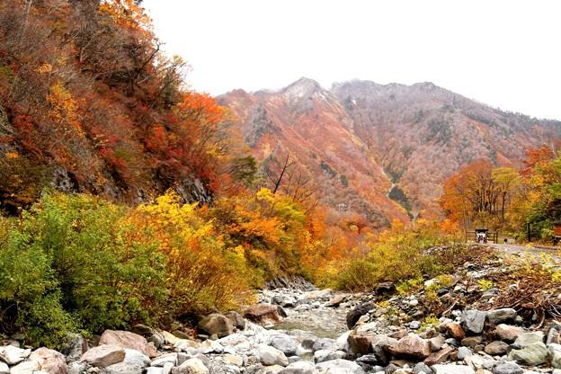 一ノ倉沢より見える紅葉風景