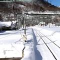 94登り上越線の線路(正月の土合駅)